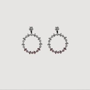 NWT Mango Faceted Crystal Hoop Earrings